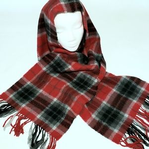 Accessories - 100% Cashmere Plaid Fringed Scarf
